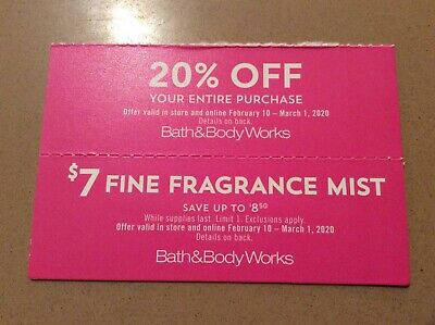 2 Bath & Body Works Coupons - 20% Off Entire Purchase + $7 Fine Fragrance Mist