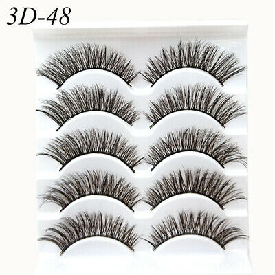 5Pair 3D Mink False Eyelashes Wispy Cross Long Thick Soft Fake Eye Lashes Q