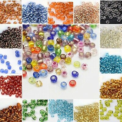 40g SILVER LINED GLASS SEED BEADS 11/0-2mm 8/0-3mm 6/0-4mm VARIOUS COLOURS  BD9
