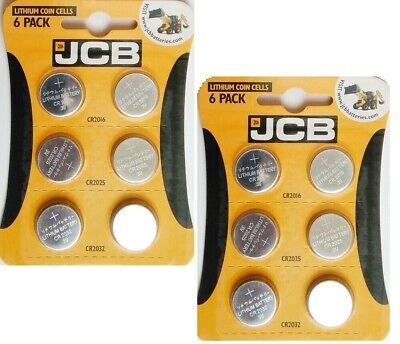 12 JCB Lithium Coin Cell Batteries Assorted Sizes CR2016 CR2025 CR2032 free P&P