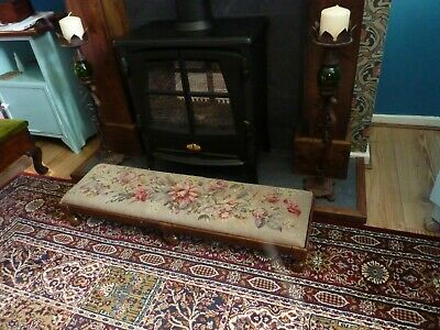 edwardian, beautifully faded, long, hand  embroidered oak footstool