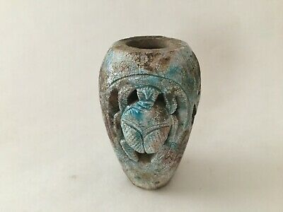 EGYPTIAN STONE Scarab and Hieroglyphic VASE VESSEL Small Blue Faience Replica?