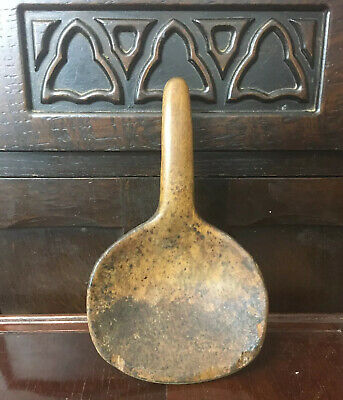 19th Century Antique Treen Wooden Butter Paddle Spoon With Hook Handle