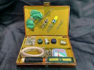 Vintage Retro Faux Tortoiseshell Fitted Sewing kit Set Case Box 1950s