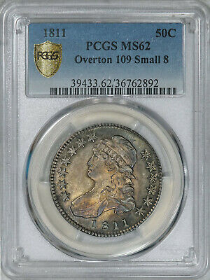 1811 PCGS MS62 Bust Half Dollar, clean surfaces, natural toning, decent luster