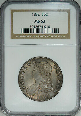 1832 NGC MS63 Bust Half, fine satiny luster & original surfaces, very few marks