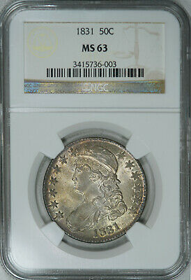1831 NGC MS63 PQ Bust Half, great luster & eye appeal on this pretty specimen
