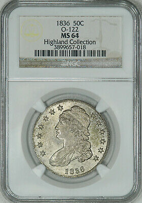1836 NGC MS64 Bust Half, old patina with satiny luster & very few marks