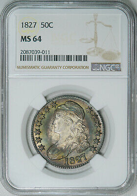 1827 NGC MS64 PQ++ Bust Half, a super lustrous original piece, GREAT EYE APPEAL