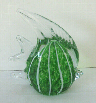 Art Glass Paperweight Angelfish Green Stripe