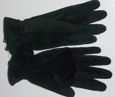 Thinsulate Black Suede Gloves Womens Size XL Elastic Ruched Wrist Lined- Nice!!