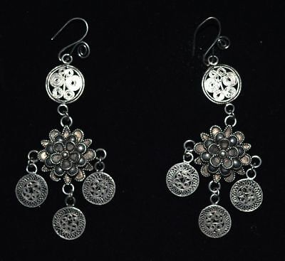 Republic Of China Old Silvering Copper Jewelry Handicraft Filigree Earbob Pair