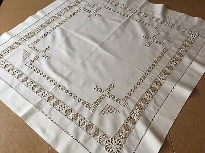 Antique Linen Drawn Thread Work Tablecloth, off white square, card table size.