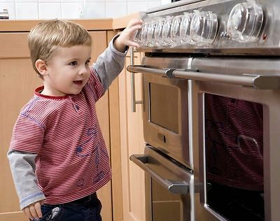 Clippasafe Oven & Stove Knob Guards. 4 Pack Baby Child Toddler Gas Leak Safety