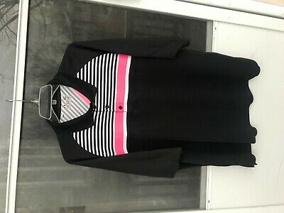 UNDER ARMOUR Loose Fit Heat Gear Black W/ WHITE PINK Stripe Polo Golf Shirt  XL