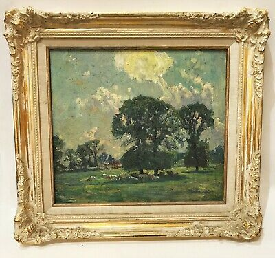 Late 19th C. French Pastoral Oil Painting of Grazing Cows