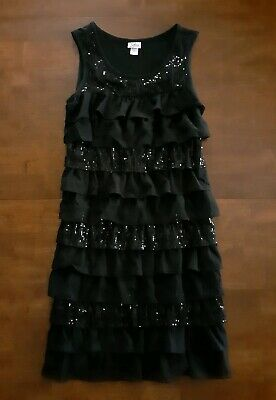 Justice Girls Sleeveless Dress Size 16 Black Ruffled Tiers Sequins