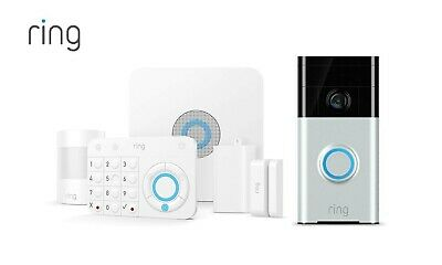 Ring Home Security System Alarm with Ring Video Doorbell Surveillance Bundle NEW