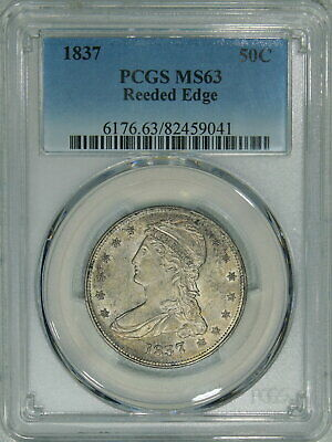 1837 PCGS MS63 Bust Half, nice luster & surfaces, decent piece for your type set