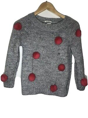 Zara Girls Grey Pink Pom Pom Jumper Sweatshirt Age 8 128cm