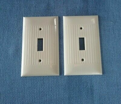 Vtg 2 Sierra Electric Switch Plate Covers Ribbed Art Deco Bakelite