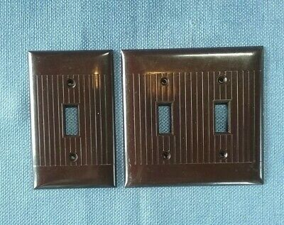 Vtg 2 Sierra Electric Switch Plate Covers Brown Bakelite Deco Ribbed