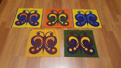 Awesome RARE Vintage Mid Century retro 70s 5 brightly colored butterfly fabric!