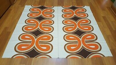 Awesome RARE Vintage Mid Century retro 70s red brown ribbon loop print fabric!