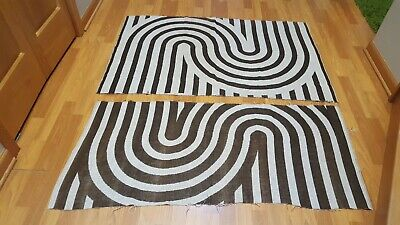 Awesome RARE Vintage Mid Century retro 70s brn knit striped loop fabric 2 pieces