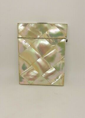 Antique Mother of Pearl Diamond cut Card Case Holder