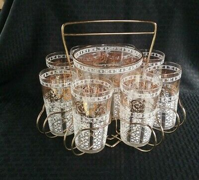 MCM Cocktail Set of 8 Highball Glasses, Ice Bucket & Caddy Gold White Clear