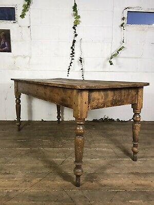 Antique Pine Farmhouse Kitchen Dining Table C.1920