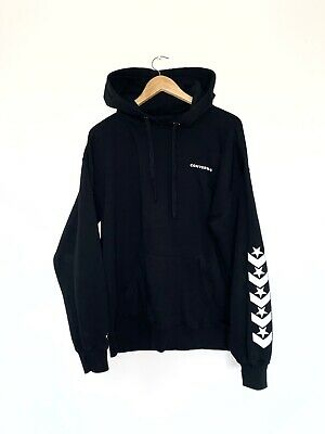 Converse Spell Out Black / White Pullover Hoodie Jumper Size Large