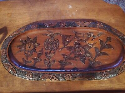 Vintage Boho Double Sided Hand Carved Wood Tray