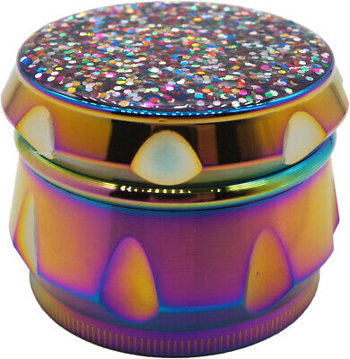 "2.2"" 55 mm 4 Piece Pretty Glitter Grinder Bling Bling Herb Spice Crusher Rainbow"