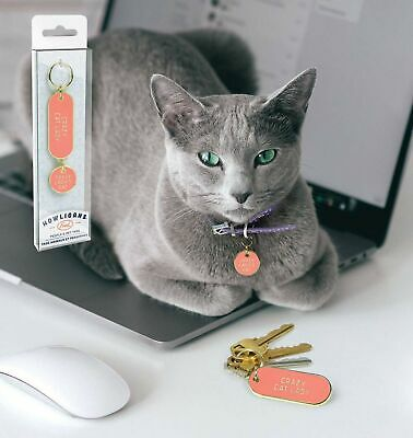 KEYCHAIN AND PET TAG SET - CRAZY CAT LADY - By Fred **NEW**