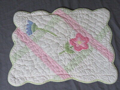 """Vintage Pottery Barn Kids Flowers 12"""" x 16"""" Pillow Sham Quilted Pink Scalloped"""