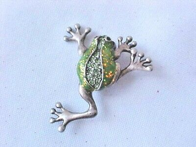 Brooch Frog Rhinestone Enamel Pewter Pin Is Signed AJMO Vintage Good Condition
