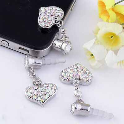 LD_ EE_ QA_ EG_ Universal 3.5mm Love Heart Dangle Anti Dust Earphone Jack Plug