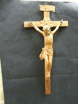 Antique Carved Boxwood Crucifix Jesus On Cross 19th Century Religious Art