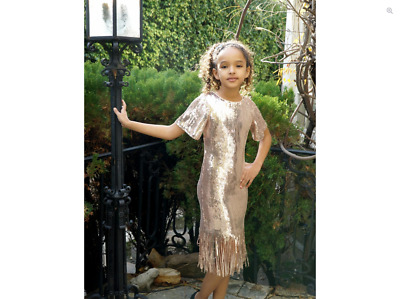 NEW Hannah Banana Rose Gold Sequins Fringe Gatsby Style Party Dress 10 12 14 16