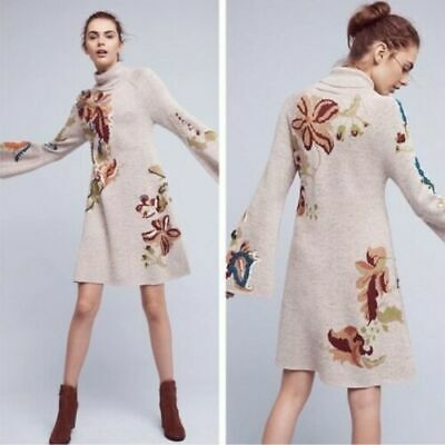 Anthro Knitted & Knotted Petals Swing Sweater Dress Women Medium Turtle Neck M
