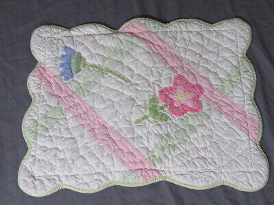 "Vintage Pottery Barn Kids Flowers 12"" x 16"" Pillow Sham Quilted Pink Scalloped"