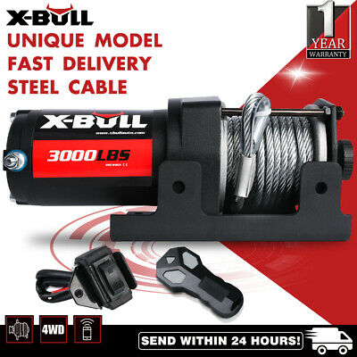 X-BULL 12V 3000lbs/1360kg Electric Winch Wireless Synthetic Cable ATV 4wd