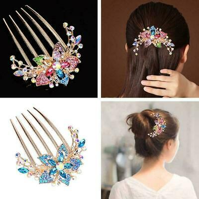 Elegant Womens Rhinestone Inlaid Flower Hair Comb Hairpin Accessory Headwea D4G0