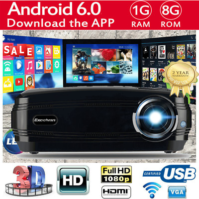 WIFI HD 1080P Video Projector 7000 Lumens LED Home Theatre Business Multimedia