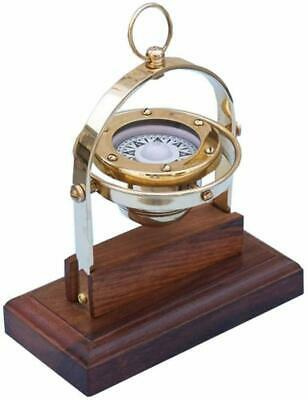 """Brass Antique Desk Gimbal Compass 8"""" Nautical Home - Office Decoration Gift Item"""