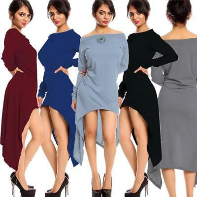 Womens Lace Off Shoulder Casual Swing Irregular Lady Long Sleeve Tops Blouse WS