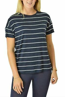 Ex Marks & Spencer Relaxed Fit Nautical Navy & White Striped T-Shirt Top Ex M&S