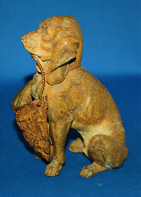 A characterful antique Bloodhound dog match holder figure, Victorian, cast metal
